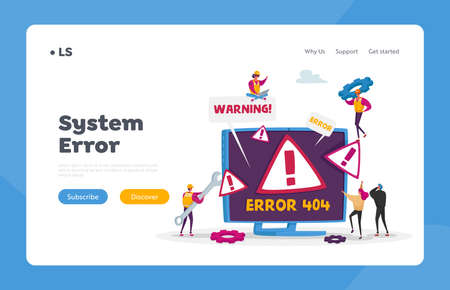 Site Under Construction Landing Page Template. Website Error 404 Page with Tiny Characters Holding Tools for Repair