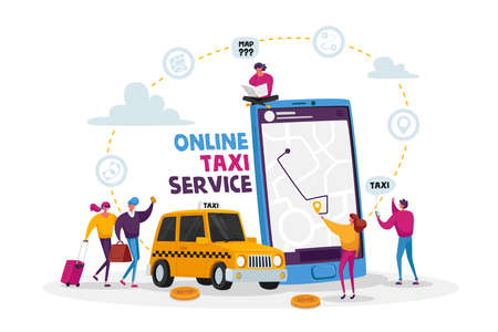 Characters Order Taxi Car Using Application and Catching on Street.Taxi Service. Driver in Yellow Cab Waiting Passengers Ilustración de vector