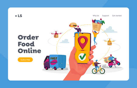 Characters Use Online Food Delivery Service Landing Page Template. Hand with Smartphone and App for Delivering Parcels Stock Illustratie