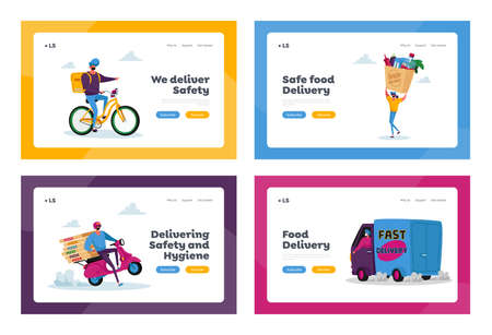 Safe Food Delivery Landing Page Template Set. Courier Deliver Grocery Production to Customer by Car, Scooter, Bike