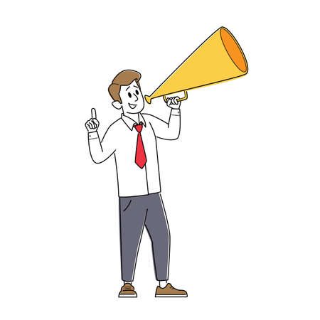 Businessman Male Character Yelling to Loudspeaker, Recruitment, Job hiring, Promotion Concept. Man Yell with Megaphone