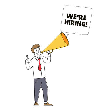 We are Hiring, Recruiting, Head Hunting Concept. Manager Character Search Employee Hire on Job Using Megaphone Stock Illustratie