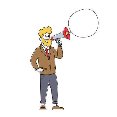 Online Public Relations and Affairs Concept. Business Man Shouting to Megaphone or Loudspeaker with Speech Bubble.