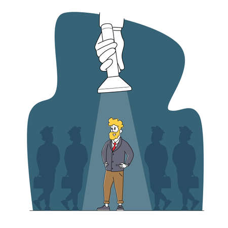 Job Search Business Recruitment Concept. Businessman Character Stand with Arms Akimbo in Spotlight Beam. Hiring Talent Stock Illustratie
