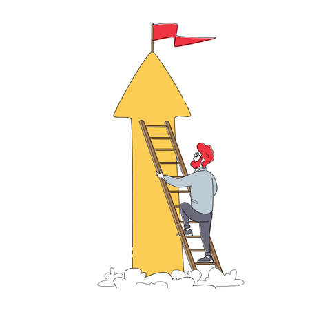 Businessman Character Climb Up Ladder on Peak of Growing Arrow with Red Flag on Top, Business Man Aiming Career Height