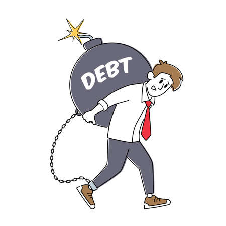 Loan Payment, Taxation Concept. Tired Businessman Character Carry Huge Round Bomb with Burning Fuse. Bank Debt