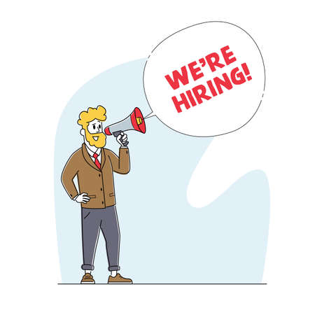 We are Hiring Concept. Manager Character Search Employee Hire on Job Using Loudspeaker. Human Resource, Recruiting Stock Illustratie