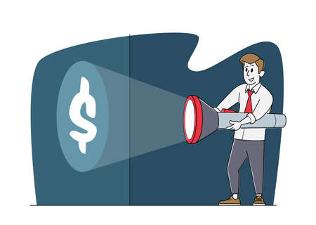 Young Business Man Character in Formal Suit Holding Huge Flashlight Lighting Up Dollar Sign on Wall, Searching Money Stock Illustratie
