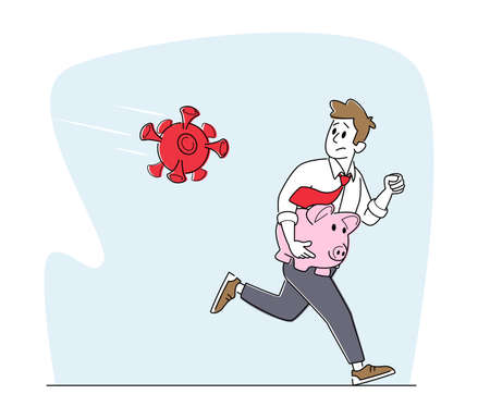 Business Man Character Escape from Huge Coronavirus Cell Attack with Piggy Bank in Hands. Financial Crisis, at Covid