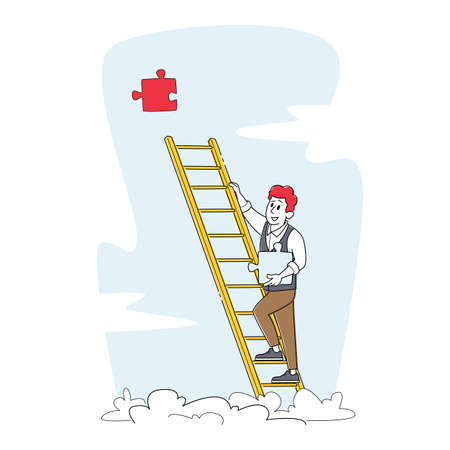Businessman Climbing Ladder to Take Huge Missing Puzzle Piece for Task Solution and Problem Solving. Career Growth Stock Illustratie