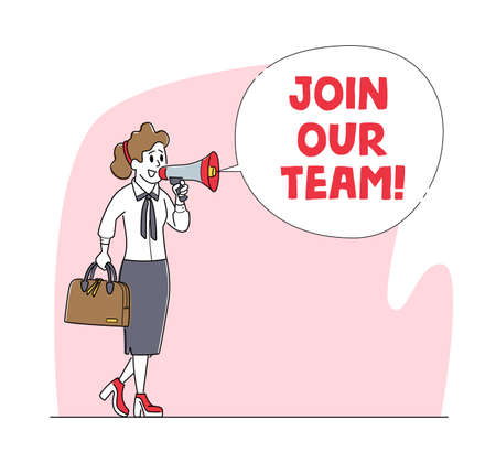 Join Our Team, Hiring Concept. Businesswoman Character Search Employee Hire on Job Using Loudspeaker. Human Resource