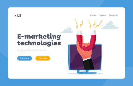 Inbound Business Marketing Technologies, Lead Generating Landing Page Template. Businessman Hand with Huge Magnet