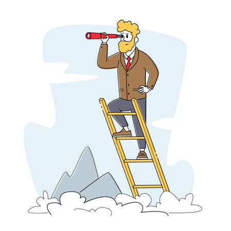 Businessman Stand on Ladder at Mountain Top Background Looking to Spyglass. Business Vision, Recruitment Employee