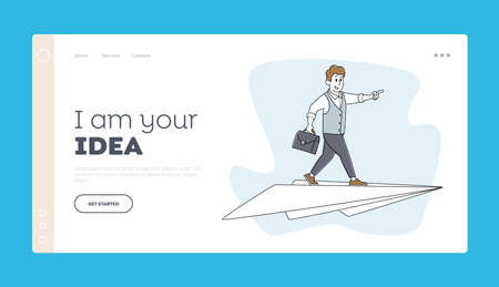 Business Innovation, Startup or Aim Achievement Landing Page Template. Businessman Character Flying on Paper Airplane
