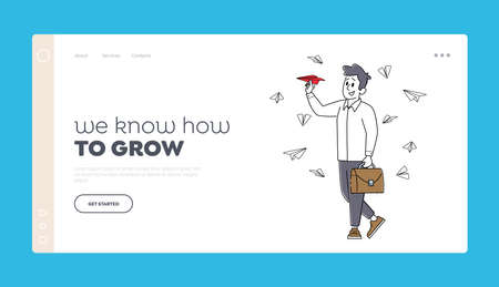 Business Man Character Flying Paper Airplane Landing Page Template. New Successful Project, Creative Business Innovation