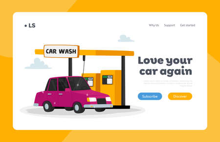 Automobile in Car Wash Service Landing Page Template. Automated Cleaning with Equipment for Dirt and Dust Removal