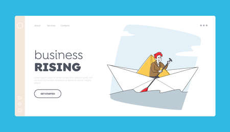 Businessman Character with Paddle Sail on Paper Boat Landing Page Template. Brave Man Searching Solution, Goal Stock Illustratie
