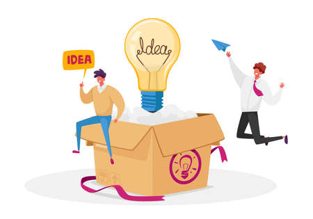 Creative Idea Development, Think Outside Concept. Male Business Characters Sitting on Huge Carton Box with Light Bulb
