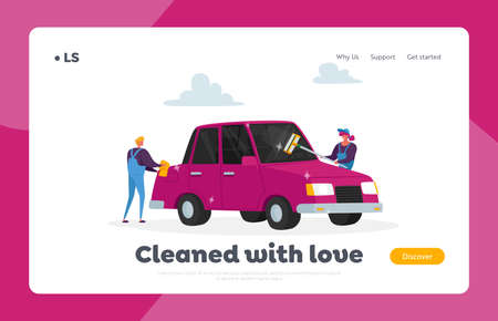 Cleaning Company Landing Page Template. Employees Characters Work. Car Wash Service Concept. Workers with Sponge Stock Illustratie