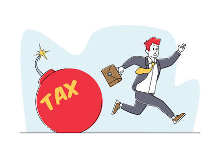 Frightened Businessman Character Running from Huge Red Bomb with Burning Fuse and Tax Inscription. Financial Problems Stock Illustratie
