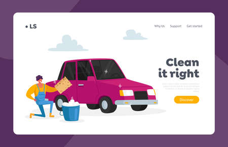 Cleaning Company Employee Working Process Landing Page Template. Man Cleaning Vehicle. Car Wash Service on Auto Station
