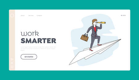 Career Vision Aim Achievement Landing Page Template. Business Woman with Briefcase and Spyglass Fly on Paper Airplane