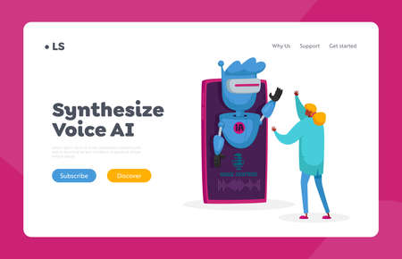 Artificial Intelligence Technology Landing Page Template. Voice Recognition Concept. Tiny Scientist Sound Control Stock Illustratie