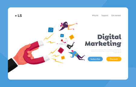 Inbound Marketing, Financial Goals Achievement Landing Page Template. Human Hand with Huge Magnet Attract Businesspeople Stock Illustratie