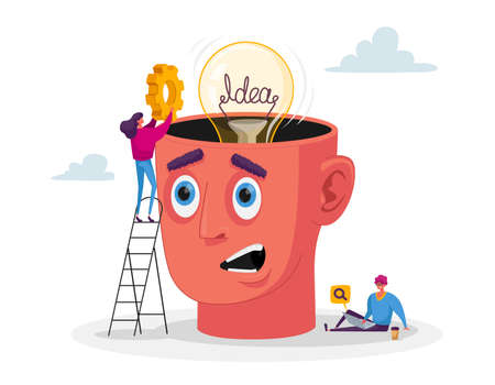 Business Characters Work on Project Searching for Creative Idea. Woman Put Gear into Huge Head with Light Bulb Stock Illustratie