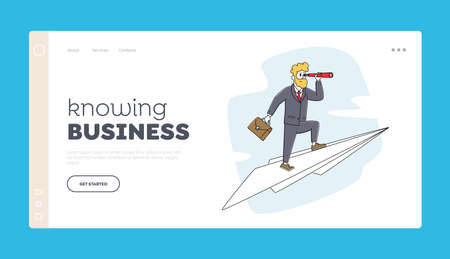 Successful Innovate Project, Business Vision Landing Page Template. Business Man Character with Spyglass Fly on Airplane