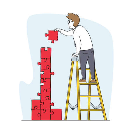 Idea Development, Task Solution and Problem Solving Concept. Business Man Character Stand on Ladder Assemble Puzzle