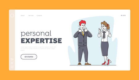 Businesspeople Meeting, Negotiation Landing Page Template. Businesspeople Characters Agreement, Partnership