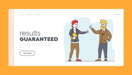 Business Partners Agreement Landing Page Template. Characters Partnership, Deal. Businesspeople Meeting for Discussion