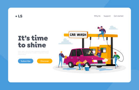 Car Wash Service Landing Page Template. Workers Characters Lathering Automobile with Sponge and Pouring with Water Stock Illustratie