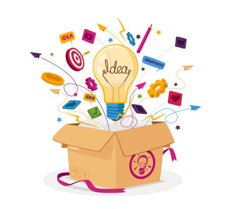 Think Outside Box Business Concept. Open Carton Package with Light Bulb, Stationery Icons and Office Supplies Flying Out