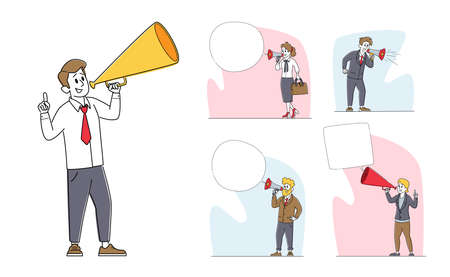 Set of Businessmen Characters Yelling to Loudspeaker, Recruitment, Job Hiring, Advertising Promotion Concept
