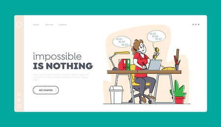 Telephone Communication, Call Operator Landing Page Template. Office Worker Business Woman Working on Laptop at Table
