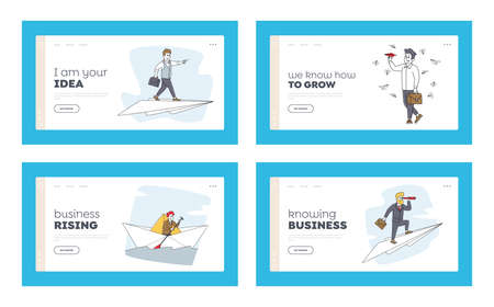 Goal Achievement and Leadership Landing Page Template Set. Business Characters Sail Paper Boat, Flying on Airplane