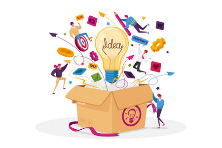 Think Outside Concept. Tiny Male or Female Business Characters Fly around of Huge Carton Box with Light Bulb, Stationery