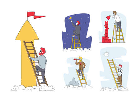 Set of Businessman Characters Climbing Ladder to Take Star from Sky, Assemble Puzzle, Look in Spyglass. Task Solution
