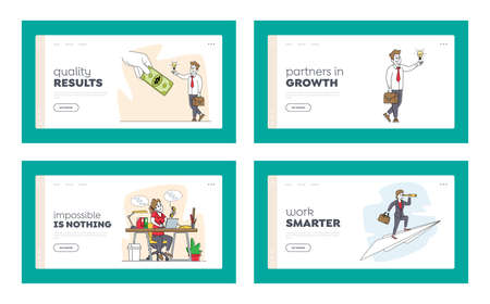 Business People Scenes Landing Page Template Set. Man Change Light Bulb on Dollar Bill, Woman Flying on Paper Airplane