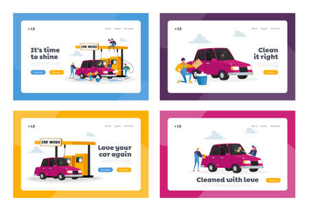 Car Wash Service Landing Page Template Set. Workers Characters Lather Automobile with Sponge and Pouring with Water Jet