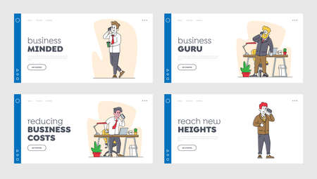 Business People Call at Working Time Landing Page Template Set. Office Workers Characters Speak by Smartphones in Office Stock Illustratie