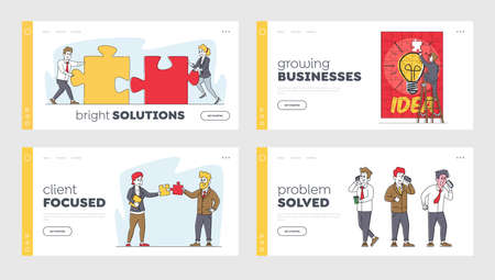 Business Characters Assemble Puzzle Pieces Landing Page Template Set. Businesspeople Teamwork in Coworking Area