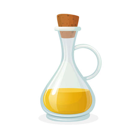 Olive Oil Bottle Glass Bottle with Long Narrow Neck and Corkwood Bung. Olive or Sunflower Yellow Cooking Oil Vektoros illusztráció