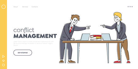 Businessmen Quarrel and Fight Landing Page Template. Business Colleagues Arguing in Office. Fighting for Leadership