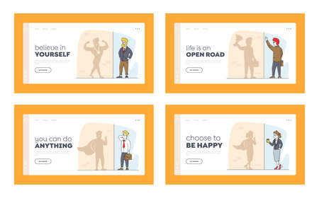 Employee Characters Dream to Be Wealthy Landing Page Template Set. Businesspeople Look at Shadow on Wall Imagine Success