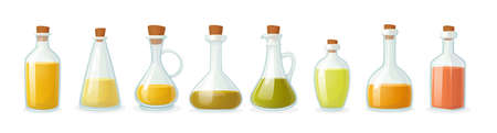Set of Olive Oil Bottle of Different Shapes Isolated on White Background. Glass Flasks with Short and Long Narrow Neck