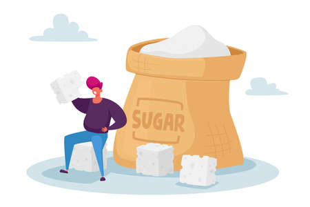 Overdose Glucose Eating Problem, Sugar Addiction Concept. Tiny Fat Character Sitting at Huge Sugar Sack with Sugar Cubes