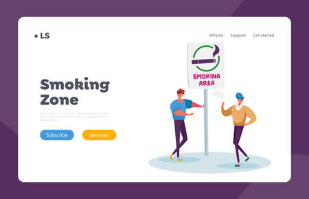 Smoking in Public Place Problem Landing Page Template. Male Characters Smoking Cigarettes in Special Area with Sign